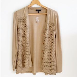 Spense Tan Crochet Detail Cardigan